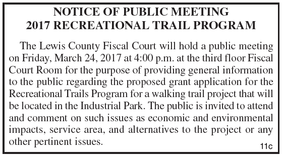 Notice of Public Meeting, Recreational Trail Program