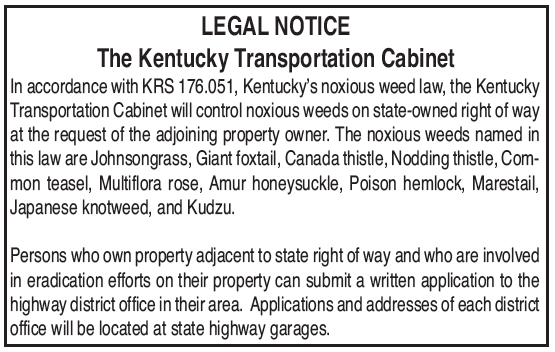 Legal Notice, Kentucky Transportation Cabinet, Noxious Weed Law