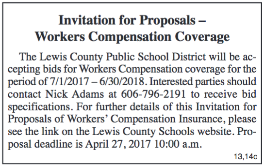Lewis County Public School District, Invitation for Proposals, Workers Compensation Coverage