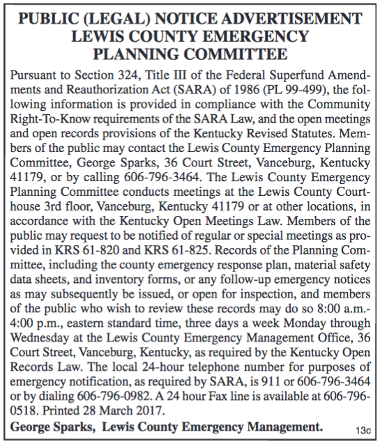 Lewis County Emergency Planning Committee, Public Notice, Right-To-Know Requirements