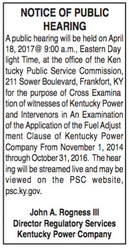 Notice of Public Hearing, Kentucky Power Company, Application of Fuel Adjustment Clause