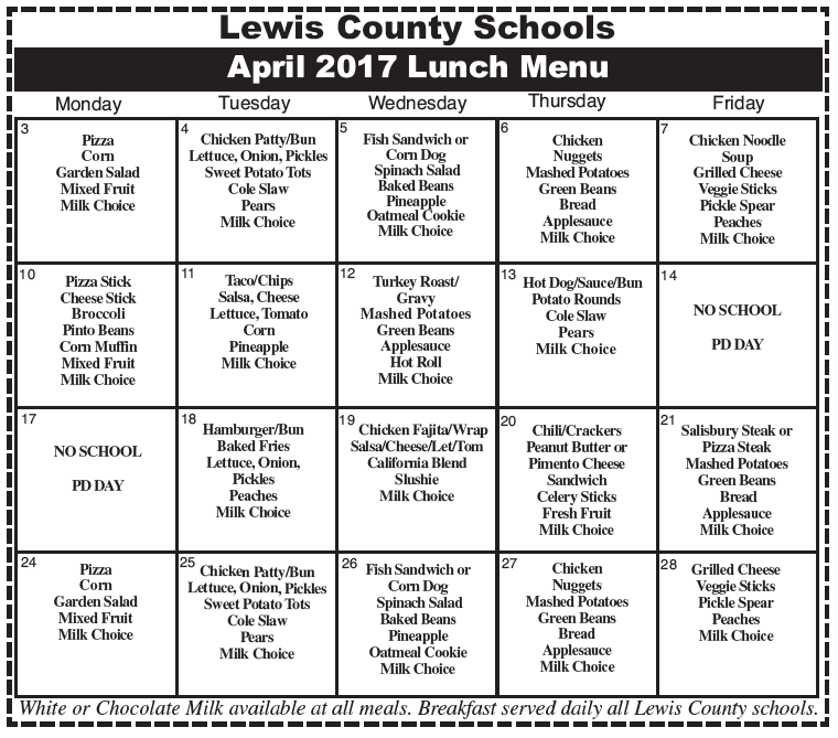 Lewis County Schools, April 2017 Lunch Menu