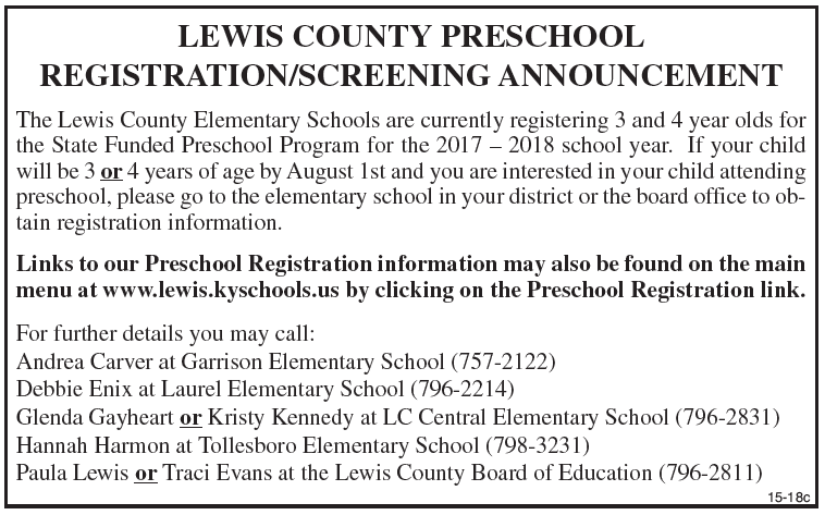 Lewis County Preschool Registration/ Screening Announcement