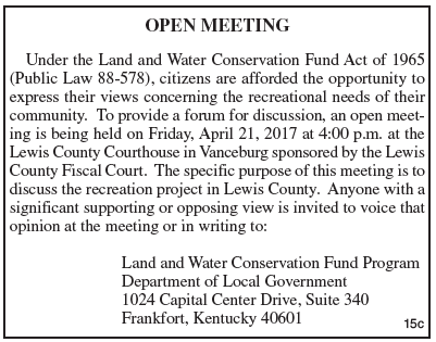 Open Meeting Notice, Discuss recreation project in Lewis County