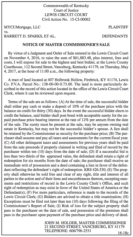 Notice of Master Commissioner's Sale, MYCUMortgage LLC vs Barrett D Sparks et al