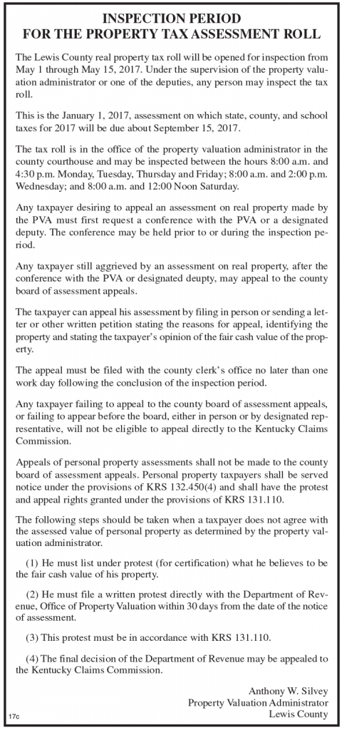 Inspection Period for the Property Tax Assessment Roll
