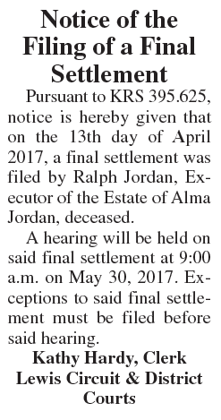 Notice of the Filing of a Final Settlement, Estate of Alma Jordan