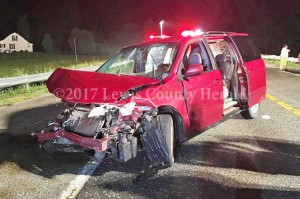 The operator of this vehicle was taken to a hospital following an accident on the AA Highway near Garrison early Monday. - Mark Sparks Photo