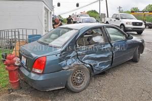 A Vanceburg woman was injured in an accident Thursday afternoon in Vanceburg. Vanceburg Police Officer Sam Richmond is investigating. - Dennis Brown Photo