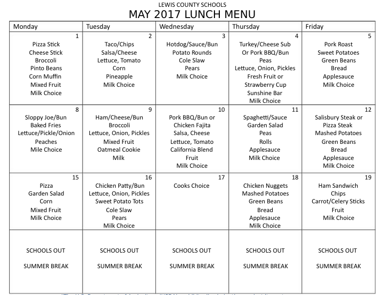 Lewis County Schools, May 2017 Lunch Menu