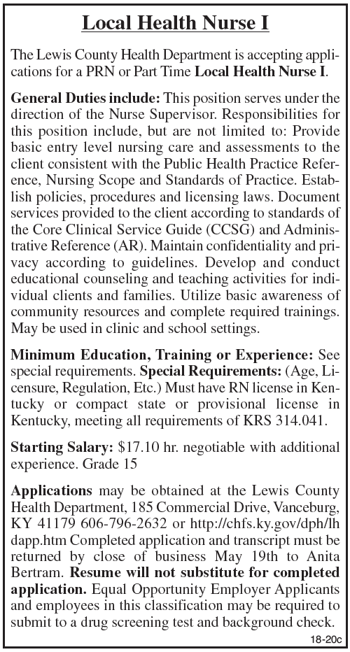 Lewis County Health Department, Accepting Applications for Local Health Nurse I