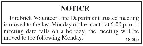 Meeting Notice, Firebrick Volunteer Fire Department