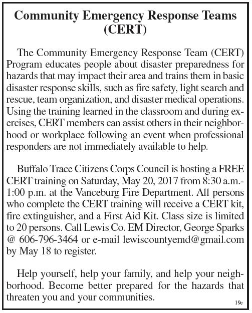 Community Emergency Response Team Training offered