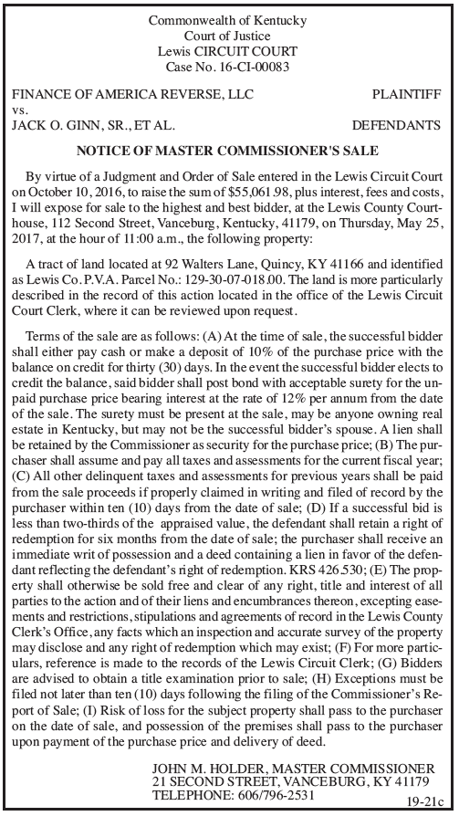 Notice of Master Commissioner's Sale, Finance of America Reverse LLC vs Jack O. Ginn Sr et al