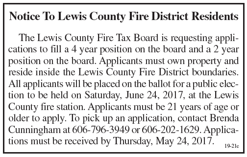 Notice to Lewis County Fire District Residents, Applications sought to fill board position