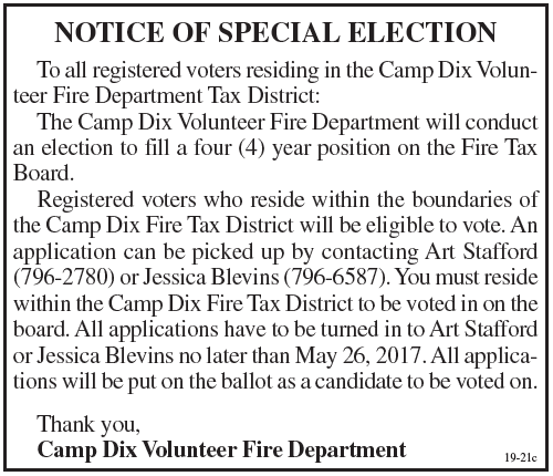 Notice of Special Election, Cam Dix Volunteer Fire Department Tax District