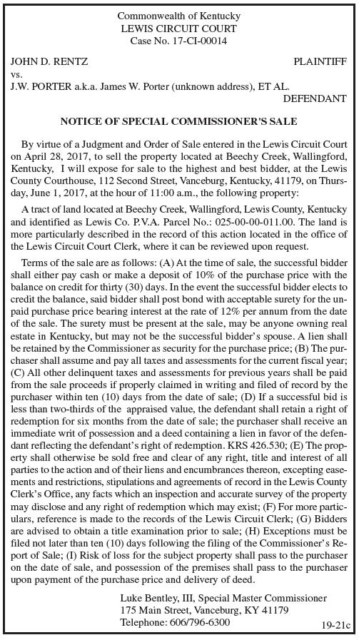 Notice of Special Commissioner's Sale, John D Rentz vs JW Porter aka James W Porter et al