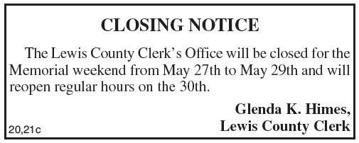 Closing Notice, Lewis County Clerk
