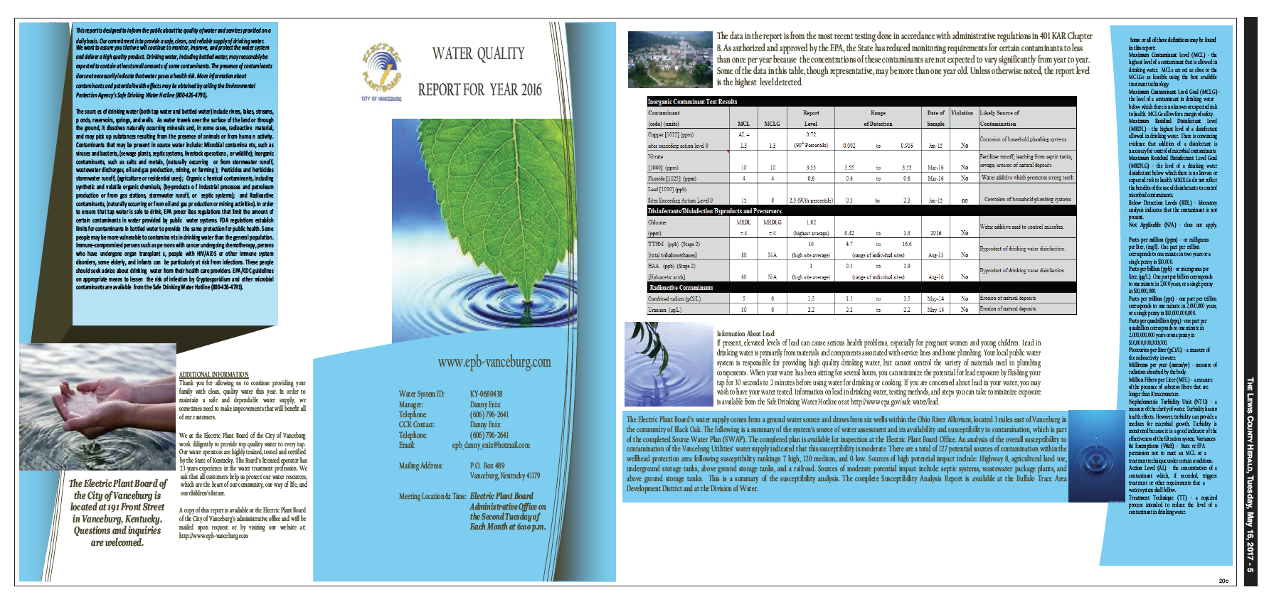 Electric Plant Board of the City of Vanceburg, 2016 Water Quality Report
