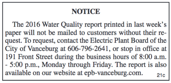 Notice, 2016 Water Quality Report, Electric Plant Board of the City of Vanceburg