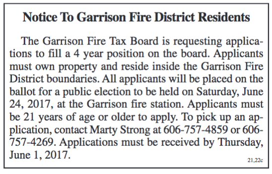 Notice, Garrison Fire District Residents, Position Available on Tax Board