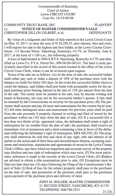 Notice of Master Commissioner's Sale, Community Trust Bank Inc vs Christopher Dillon Gilbert et al