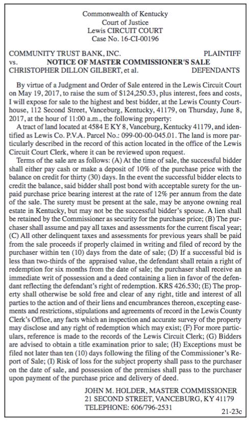 Notice of Master Commissioner's Sale, Community Trust Bank Inc vs Christopher Dillon Gilbert et al