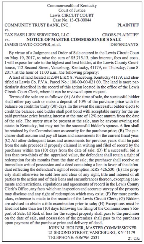 Notice of Master Commissioner's Sale, Community Trust Bank Inc vs Tax Ease Lein Servicing LLC vs James David Cooper et al