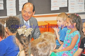 Rocky Adkins visits with students at Lewis County Central Elementary. - Dennis Brown Photo