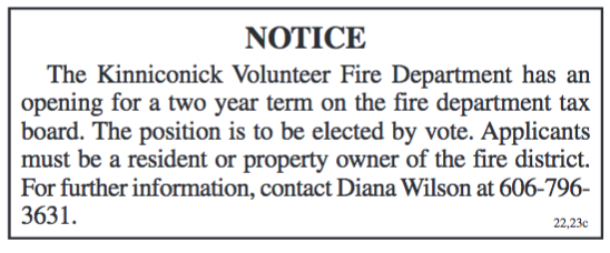 Notice, Position opening on Kinniconick Fire Tax Board