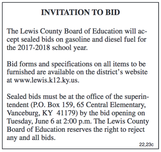 Invitation to Bid, Lewis County Board of Education, Gasoline and Diesel Fuel