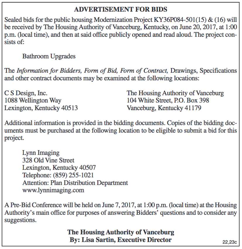 Advertisement for Bids, Housing Authority of Vanceburg, Modernization Project