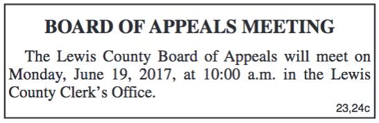 Board of Appeals Meeting Notice