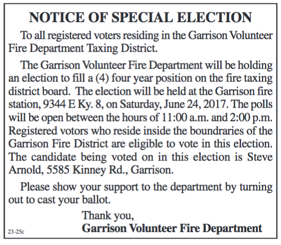 Notice of Special Election, To Fill Position of Garrison Fire Tax Board