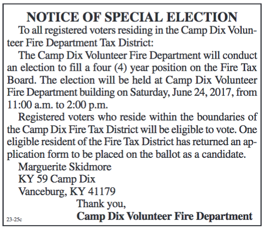 Notice of Special Election, To Fill a Position on Camp Dix Fire Tax Board