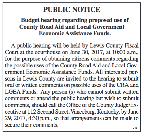 Public Notice, Budget hearing regarding proposed use of County Road Aid and Local Government Economic Assistance Funds