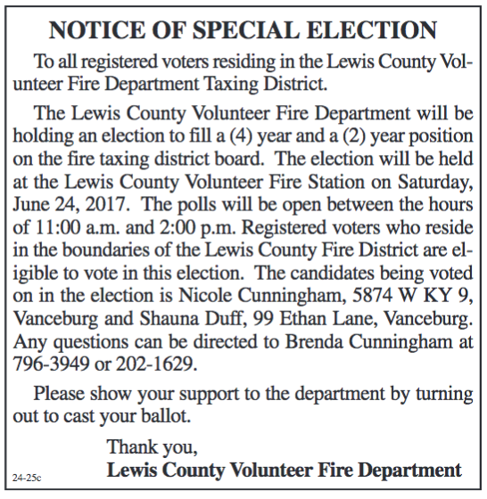 Notice of Special Election, Lewis County Volunteer Fire Department Taxing District