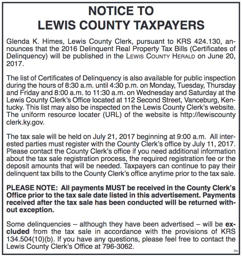 Notice to Lewis County Taxpayers, 2016 Delinquent Real Property Tax Bills to be published