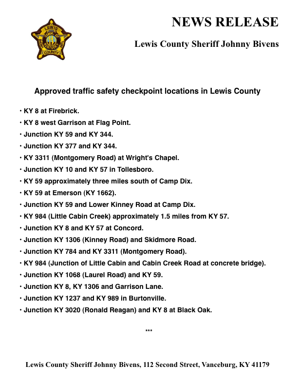 Lewis County Traffic Safety Checkpoints