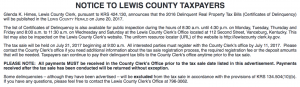 Notice to Lewis County Taxpayers 2016 Delinquent Property Tax Bills