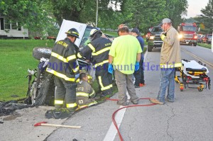 A Garrison woman was hurt in this single vehicle accident on Ky. Rt. 8 at Quincy Tuesday morning. - Dennis Brown Photo