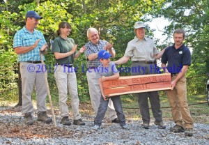 Kentucky State Nature Preserve Commission employee Joyce Bender, second from right, was honored with the naming of a hiking trail at Crooked Creek Nature Preserve in her honor. Pictured, left to right, are KSNPC Executive Director Zeb Weese, Ecologist Martina Hines, Chairman Carl Breeding, Zeb Henry Weese, Bender, and Site Manager Shaun Ziegler. - Dennis Brown Photo