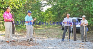 The hiking trail at Crooked Creek Nature Preserve was dedicated Saturday with several officials present. Pictured, left to right, are State Representative Rocky Adkins, Kentucky State Nature Preserve Commission Executive Director Zeb Weese, Lewis County Judge-Executive Todd Ruckel and KSNP Stewardship Manager Joyce Bender. - Dennis Brown Photo