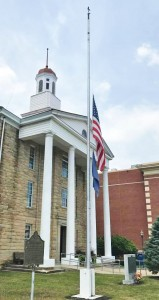 The flag at the Lewis County Courthouse is at half-staff in honor of Coach Keith Prater.