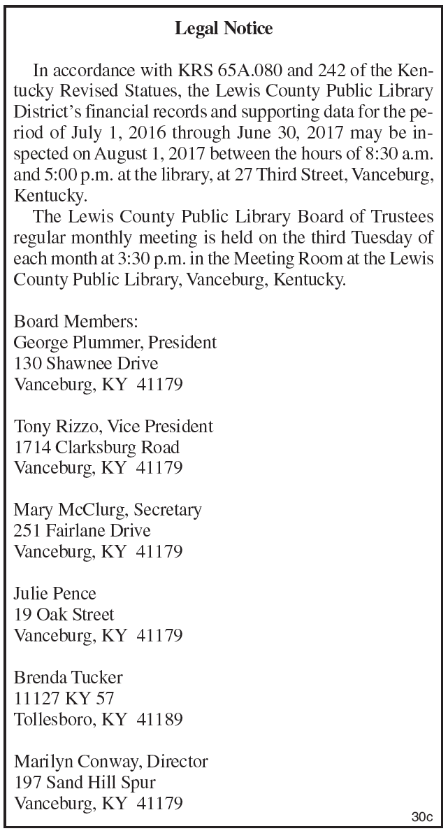 Legal Notice, Lewis County Public Library District's financial records