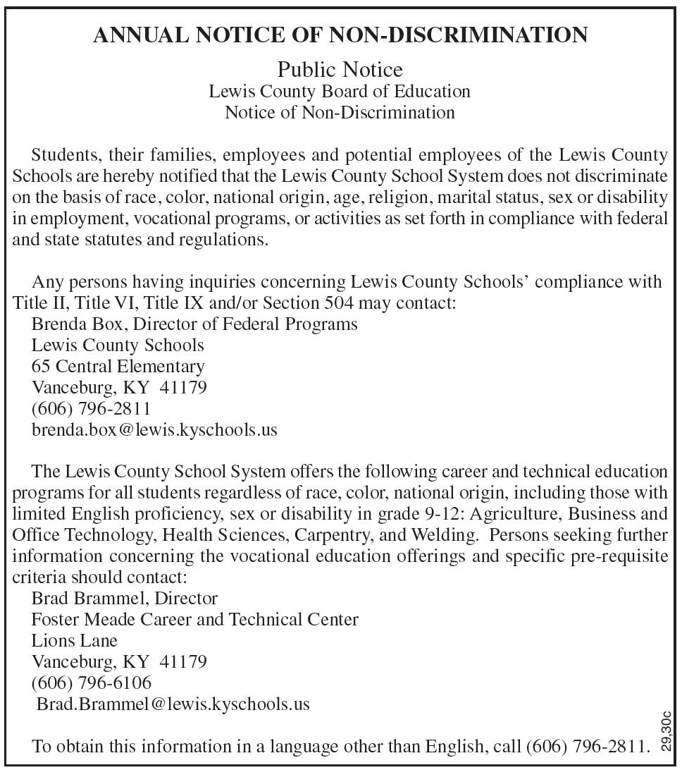 Public Notice, Lewis County Board of Education, Notice of Non-Discrimination