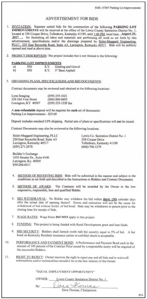 Lewis County Sanitation District No 1, Advertisement for Bids, Parking Lot Improvements