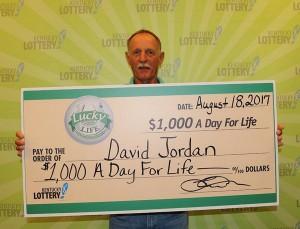 David Jordan of Quincy won the Lucky for Life Lottery Jackpot on Thursday.