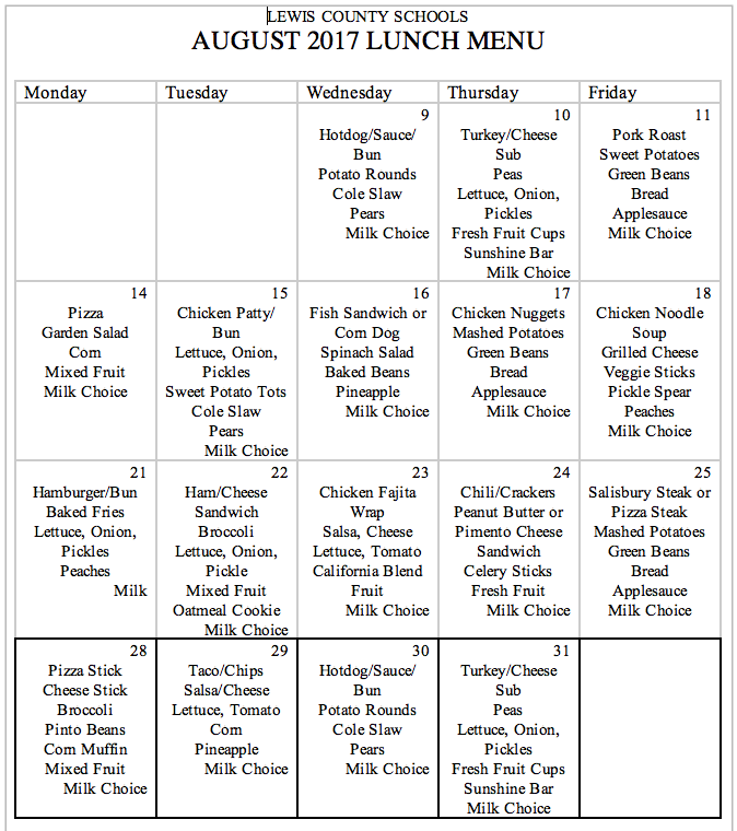 August Lunch Menu, Lewis County Schools