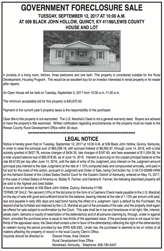 Government Foreclosure Sale, House and Lot at Black John Hollow
